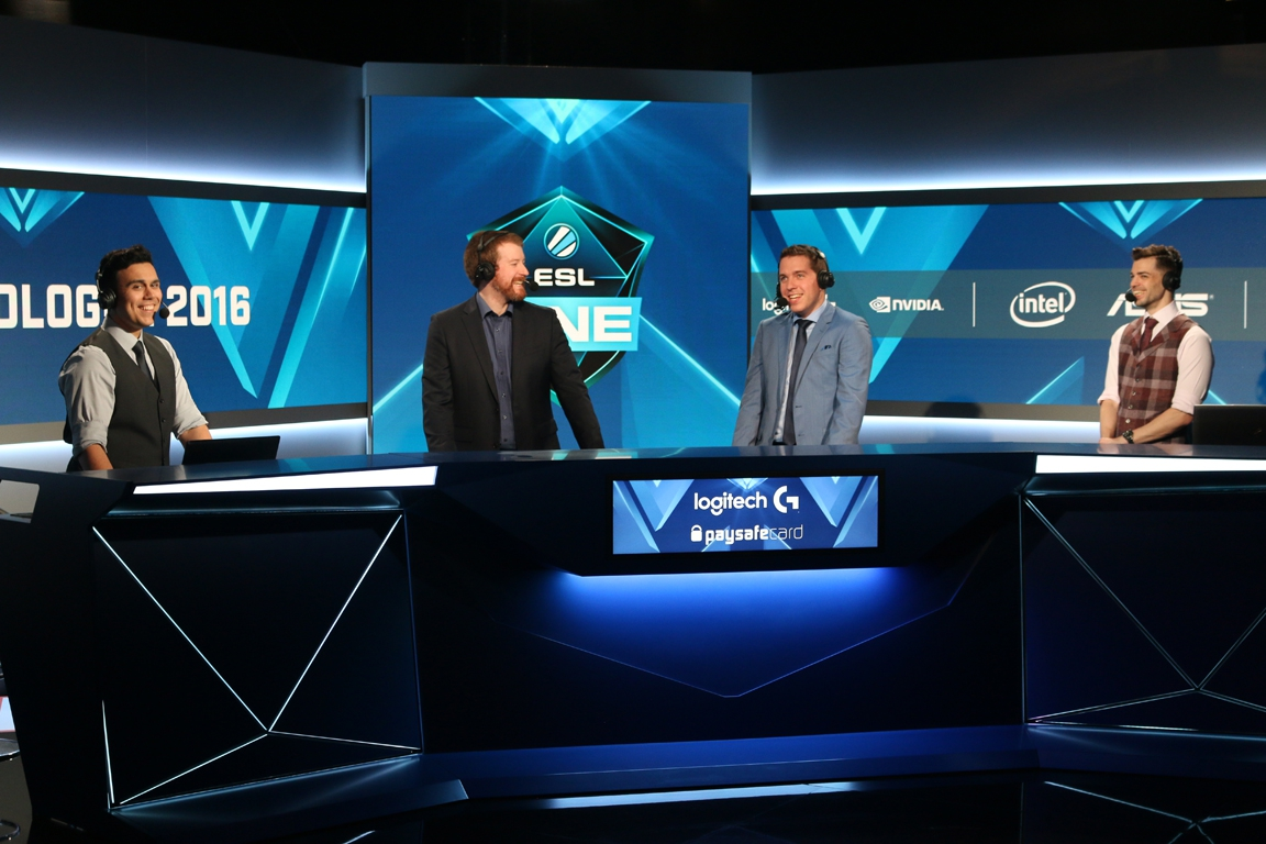 The analyst desk during ESL One Cologne 2016.