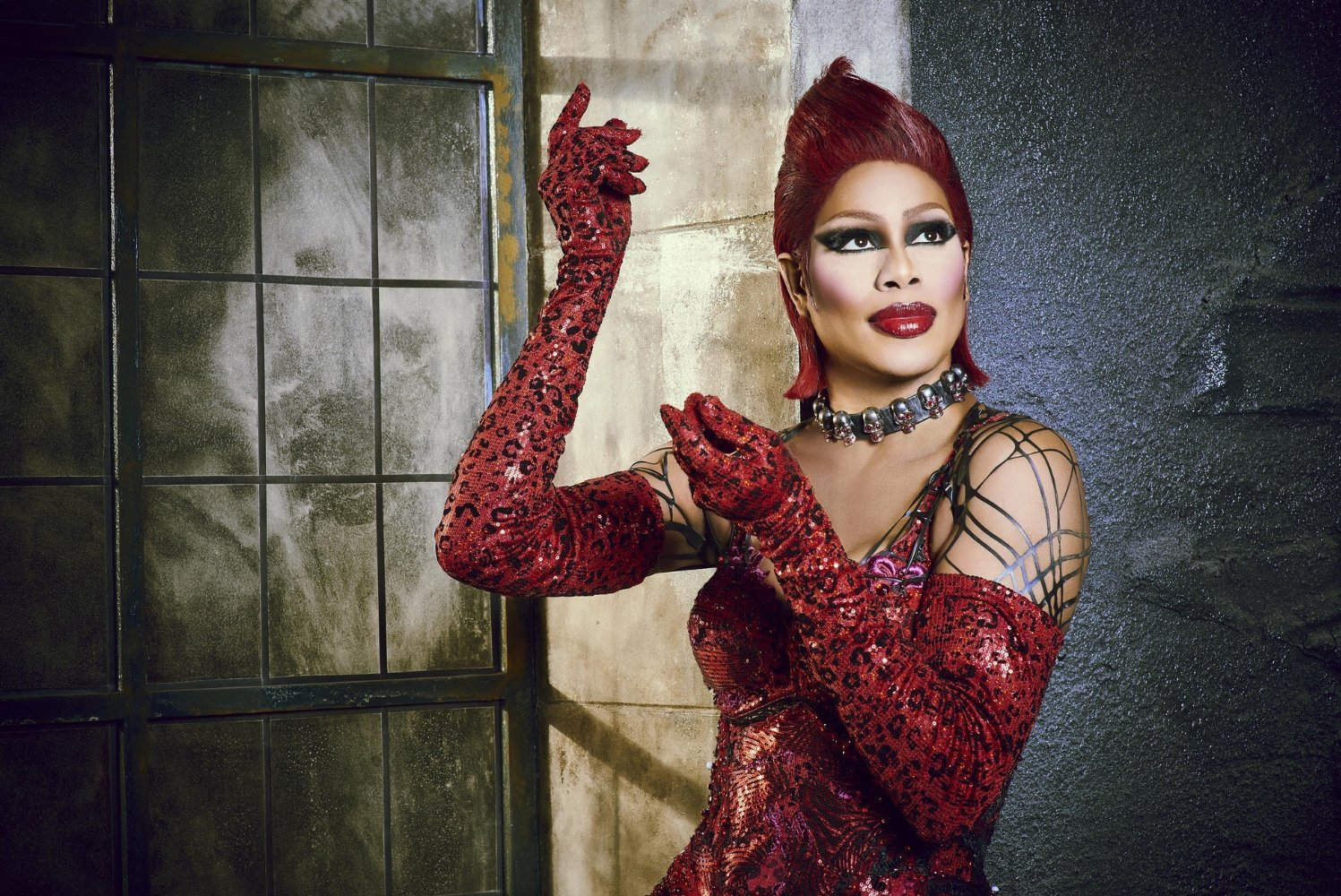 Laverne Cox as Dr. Frank-N-Furter in the TV movie The Rocky Horror Picture Show: Let's Do the Time Warp Again from 2016.