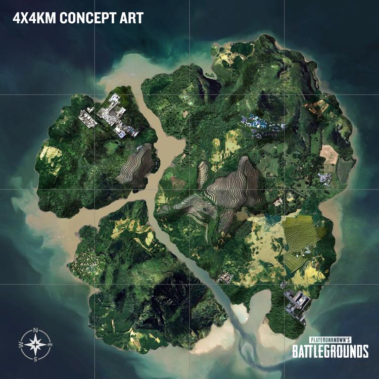 Den nya kartan är betydligt mindre än de tidigare och hoppas snabba upp matcher. Källa: PUBG