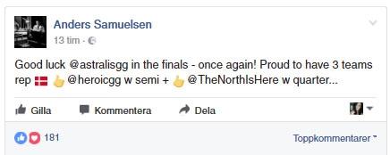 Grattis-inlägget från herr utrikesminister af Danmark själv