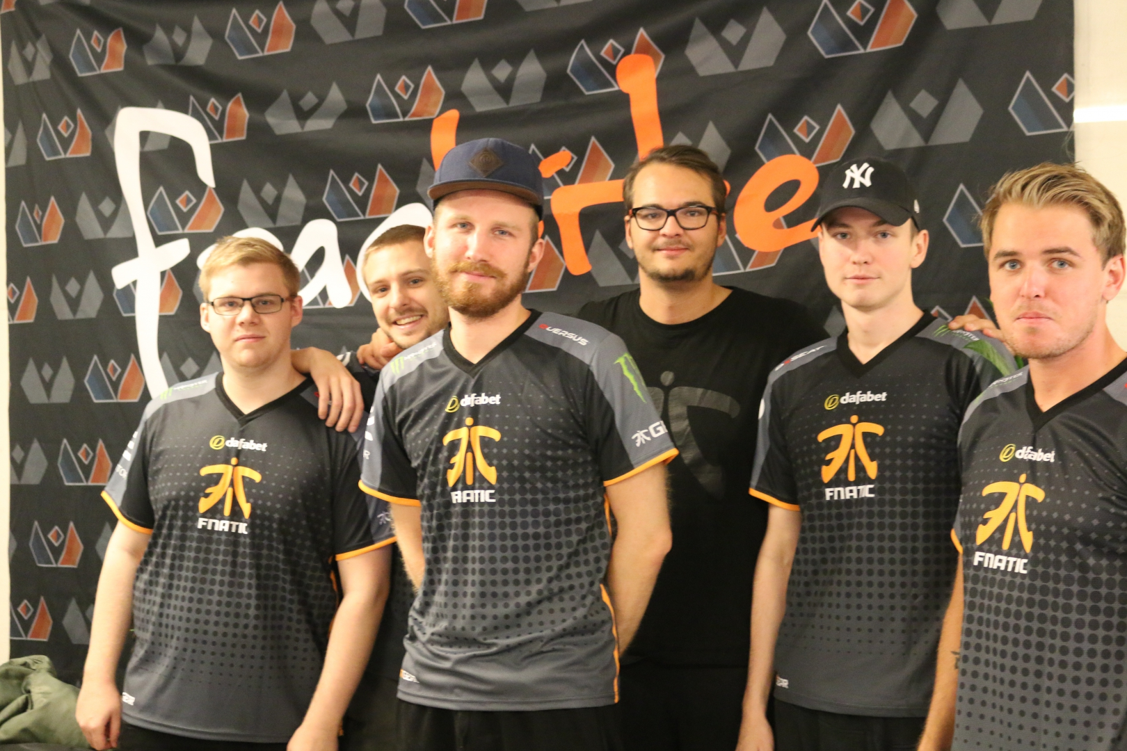 Six out of the seven Fnatic players at the bootcamp.