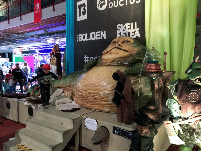 En av de riktiga publikmagneterna under helgen var Jabba the Hut, i full storlek.